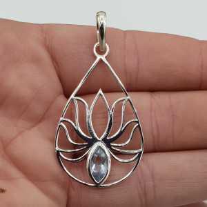 Zilveren hanger lotus bloem gezet met blauw Topaas