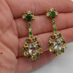 Rosé goud vergulde oorbellen met groene Amethist Chroomdiopsiet en Peridot