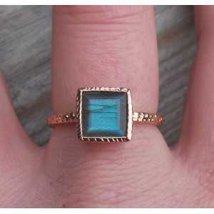 Gold-plated ring set with square Labradorite 18 mm