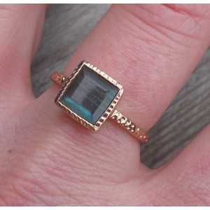 Gold-plated ring-set mit quadratischem Labradorit in 18 mm