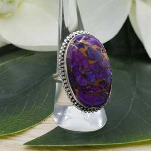 Zilveren ring gezet met grote brede ovale koper paars Turkoois 18.5 mm