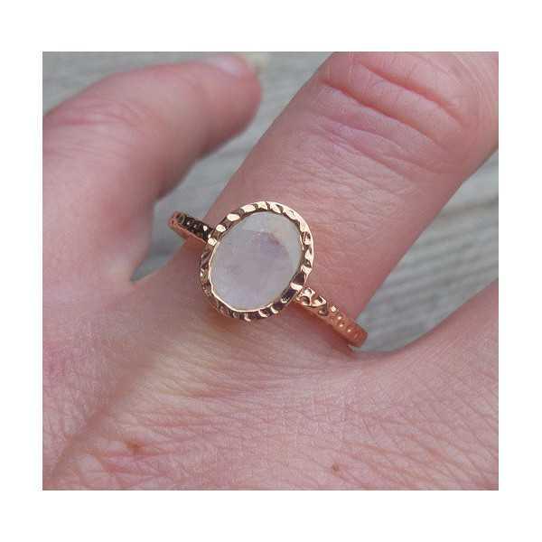 Gold-plated ring-set mit Regenbogen-Mondstein 17.3 mm