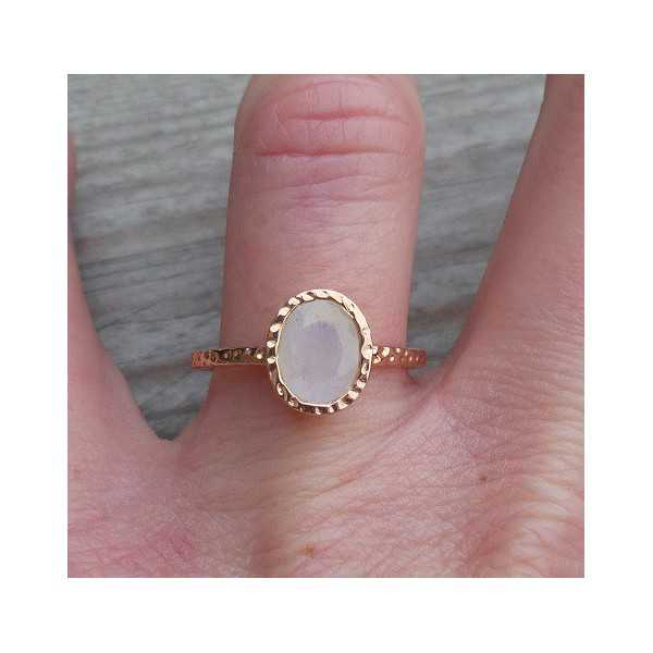 Gold-plated ring set with rainbow Moonstone 17.3 mm