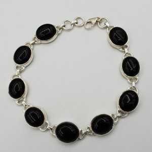 Zilveren armband met ovale cabochon zwarte Onyxen