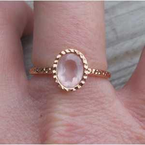Gold-plated ring-set mit Rosenquarz 18 mm