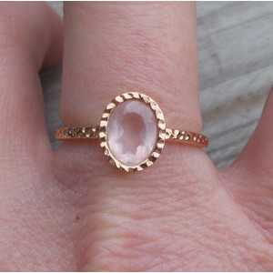 Gold-plated ring set with rose quartz 18 mm