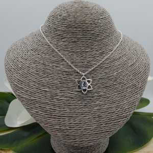 Silver necklace with lotus pendant with meditating Buddha