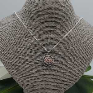 Silver necklace with round lotus pendant
