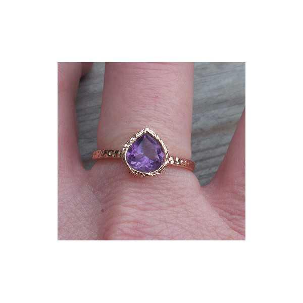 Gold plated ring-Amethyst-set in gehamerde Einstellung 18 mm