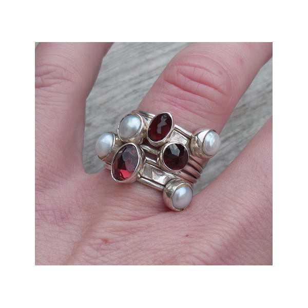 Silber Ringe mit Granat und Perlen, 19 mm