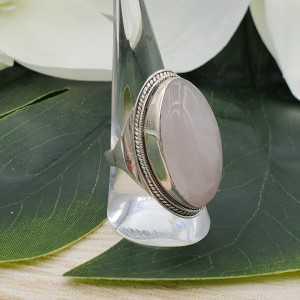 Silber ring besetzt mit großen, ovalen Rosenquarz-19 mm