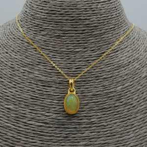 Vergoldete Halskette mit Etiopische Opal Anhänger