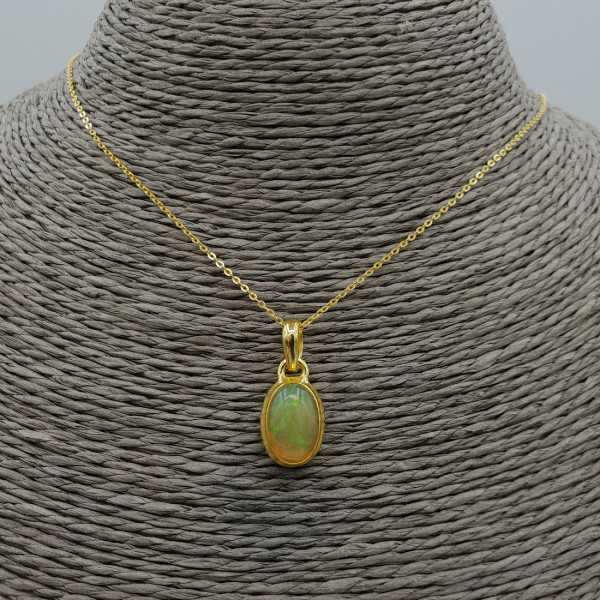 Gold plated necklace with Etiopische Opal pendant
