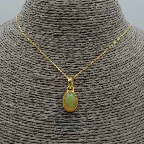 Goud vergulde ketting met Etiopische Opaal hanger