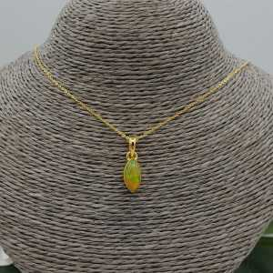 Gold plated necklace with marquise Etiopische Opal pendant