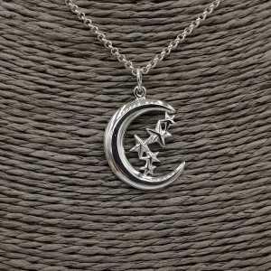 Zilveren ketting met maan en sterren hanger
