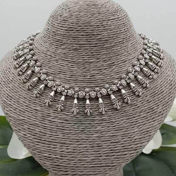 925 sterling Silver boho style choker necklace