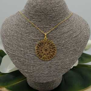 Goud vergulde ketting met grote Mandala hanger