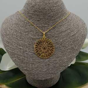 Vergoldete Halskette mit großen Mandala-Anhänger