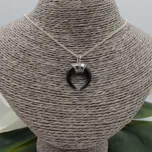 Silber Halskette mit schwarzen horn-Anhänger
