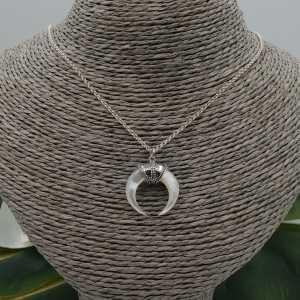 Silber Halskette mit Perlmutt-horn-Anhänger