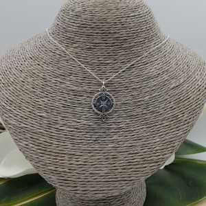 Zilveren ketting met kompas hanger