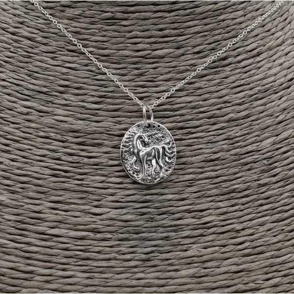 Silber-Kette mit Einhorn-Münze Anhänger