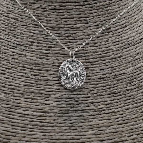 Silver necklace with unicorn coin pendant