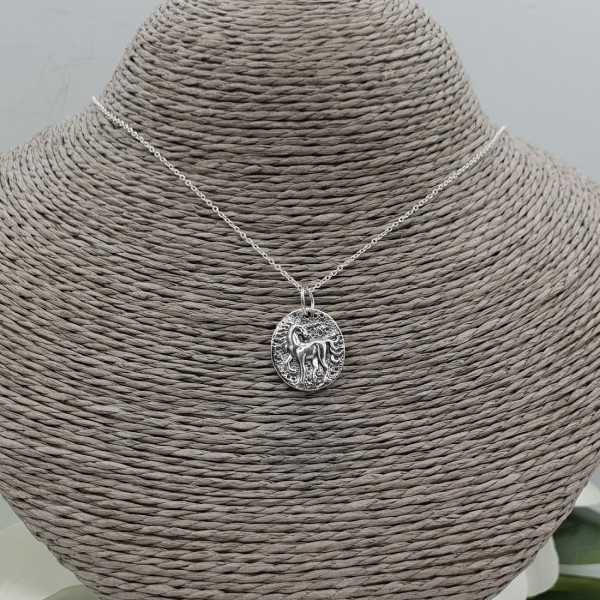 Zilveren ketting met eenhoorn munt hanger