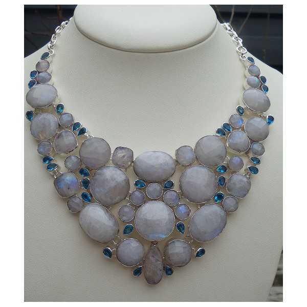 Silber Halskette-set mit blauem Topas und facettierten Mondstein