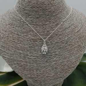 Zilveren ketting met Boeddha hoofd hanger