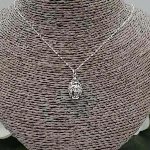 Silber Halskette mit Buddha-Kopf Anhänger