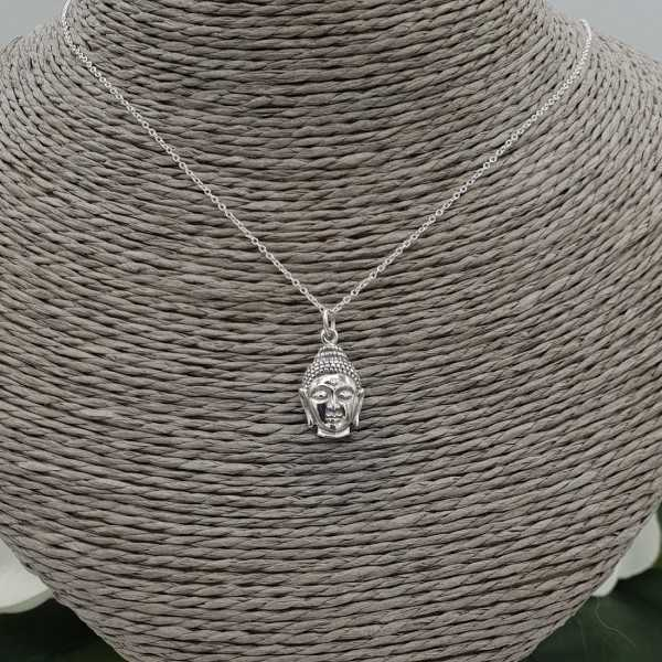 Silver necklace with Buddha head pendant