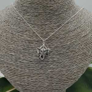 Silver necklace with Ganesh elephant pendant