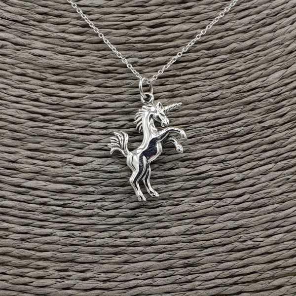 925 Sterling Silber Kette mit Einhorn-Anhänger