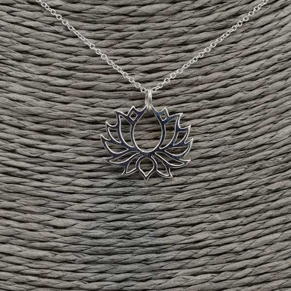 925 Sterling silver necklace with lotus pendant