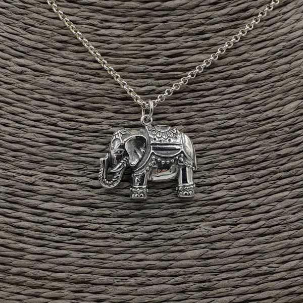 925 Sterling Silber Halskette mit Elefant-Anhänger