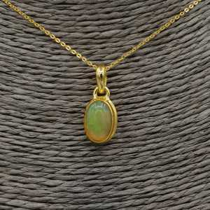 Vergoldete Halskette mit ovalen Etiopische Opal Anhänger