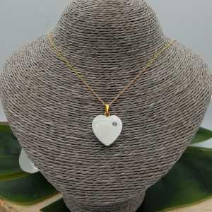Vergoldete Kette mit Herz-Mutter-von-Perle