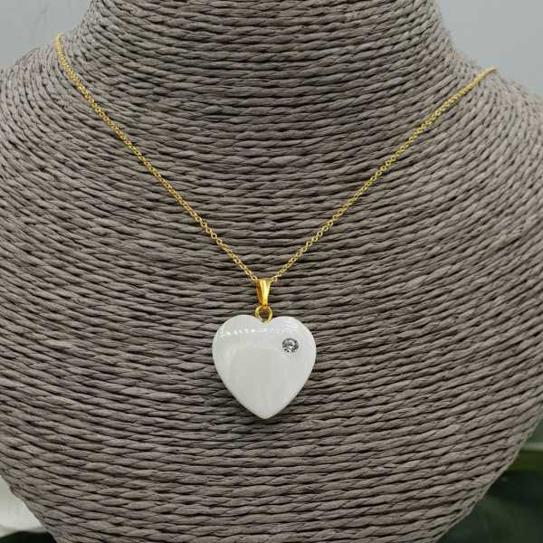 Gold plated necklace with heart mother-of-Pearl