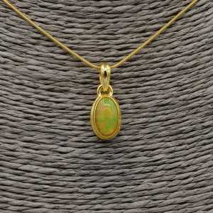 Gold plated necklace with pendant set with oval Etiopische Opal