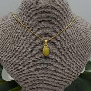 Vergoldete Halskette mit Anhänger set mit ovalen Etiopische Opal
