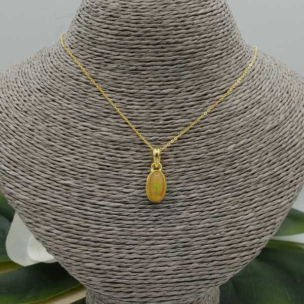 Gold plated necklace with pendant set with Etiopische Opal
