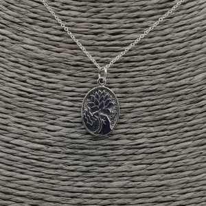 925 Sterling zilveren ketting met ovale hanger met lotus