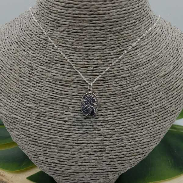 925 Sterling Silber Collier mit oval Anhänger mit lotus