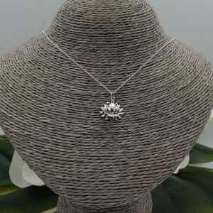 Sterling silver necklace with lotus pendant