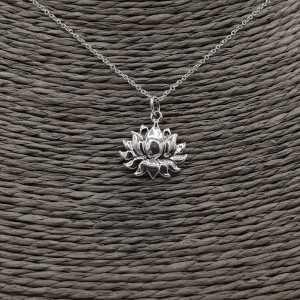 Sterling Silber Halskette mit lotus Anhänger