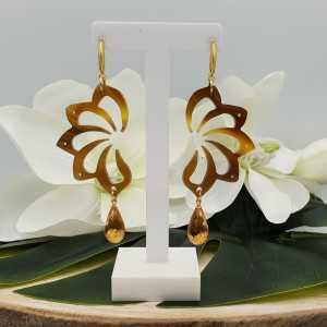 Vergoldete Ohrringe mit Büffelhorn und Citrin Quarz