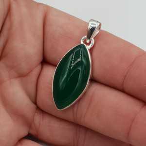 Zilveren edelsteen hanger gezet met marquise groene Onyx