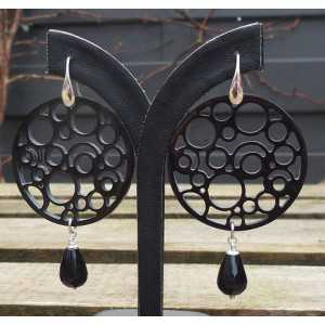 Silver earrings round buffalo horn and Onyx briolet